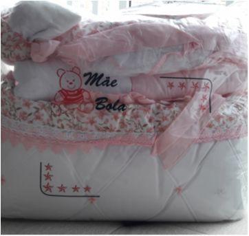 Kit berço floral rosa - Sem faixa etaria - Bruna baby enxovais
