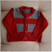 Suéter vermelho e cinza - 6 a 9 meses - Não informada
