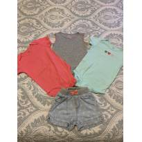 Kit 3 bodies + shorts - 18 a 24 meses - Carter`s