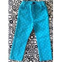 Calça de sarja azul turquesa tema coração - Baby Gap - 2 anos - Baby Gap