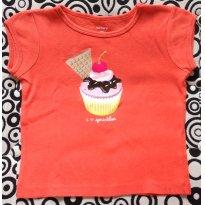 Camiseta Laranja Tema Cupcake - Carter`s - 2 anos - Carter`s