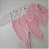 Conjunto de macacão e casaquinho em plush com bordado - 0 a 3 meses - Baby fashion