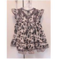 Vestido Marisol cinza florido - 6 a 9 meses - Marisol