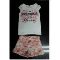 Conjunto camisetinha + short-saia (Carinhoso) - 3 a 6 meses - Carinhoso