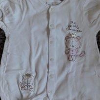 Macacão Baby Classic  Branco - 6 a 9 meses - Baby Classic
