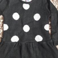 Vestido de Fio Preto com Bolas Prata - 18 meses - Healthtex