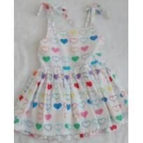 Vestido corações Viver Kids - 1 ano - Várias