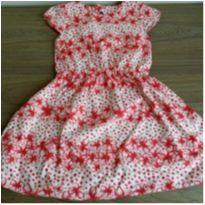 Vestido Floral Vermelho - 6 anos - Não informada