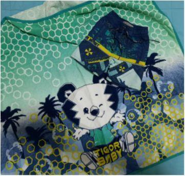 Kit conjunto toalha e bermuda Tigor Baby lindos e novíssimos! - 6 a 9 meses - Tigor T.  Tigre