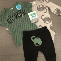 Conjunto dinossauro 3 peças (body, camiseta, mijão) - 0 a 3 meses - Carter`s