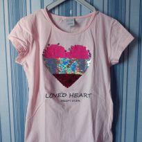 Camiseta com coração de lantejoulas - 10 anos - Fuzarka