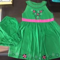 Vestido verde esmeralda com flores - 2 anos - Hartstrings