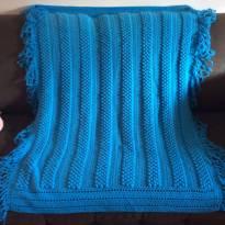 Xale para berço em crochê azul -  - Não informada
