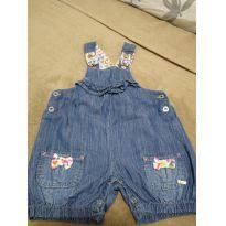 Jardineira jeans frufru - 12 a 18 meses - Marca não registrada