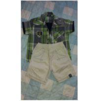 Conjunto Camisa Xadrez e Bermuda - 9 a 12 meses - Planet Kids