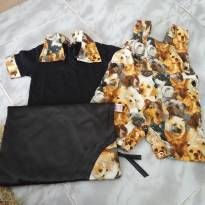 Macaquinho com camiseta de cachorro - 6 a 9 meses - Feito à mão