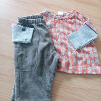 Conjunto de calça e camiseta cinza e laranja - 0 a 3 meses - Green