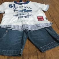 Conjunto de bermuda jeans e camiseta, nunca usados, com etiqueta. - 2 anos - Não informada
