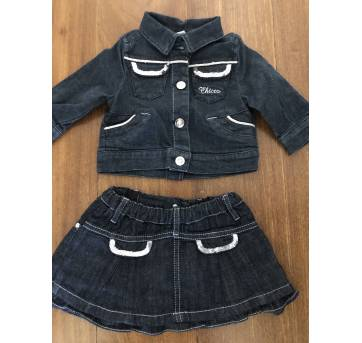 Conjunto jeans  paetês Chicco - 3 meses - Chicco