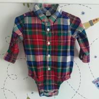 Camisa/Body xadrez Baby Gap mega estiloso - 6 a 9 meses - Baby Gap