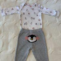 Conjunto body e calça pinguins - 3 meses - Carter`s
