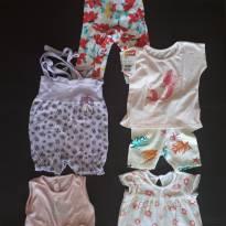 Kit roupa de menina 6-9 meses 6 peças - 6 a 9 meses - Não informada