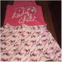 Conjunto Short Saia Flamingos e regata - 2 anos - Brandili