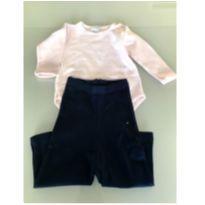 Body de algodão rosa + calça azul marinho - 3 a 6 meses - VICKY LIPE