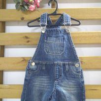 Jardineira jeans lavagem escura - 6 a 9 meses - Baby Go