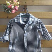 Camisa Carter`s manga longa xadrez marinho - 9 meses - Carter`s