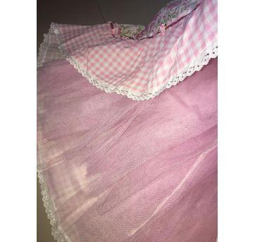 Vestido festa junina rodado rosa claro (com tule) - 12 anos - Não informada