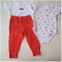 Conjunto 3 peças calça e 2 body manga curta - 0 a 3 meses - Mini & Kids