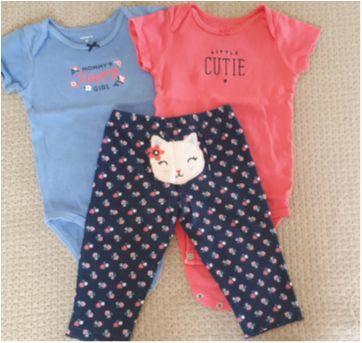 Conjunto 3 peças Carters calça e 2 body manga curta - 9 meses - Carter`s