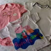 NOVAS - Camiseta e 02 Bodys P e M!! - 6 a 9 meses - Petutinha