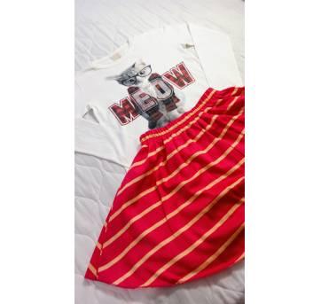 Conjunto Camiseta ZARA + Saia tam 11/12 anosuma gatinha!! - 11 anos - Zara e Outra