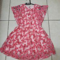 Vestido rosa com borboletas - 6 anos - Angerô