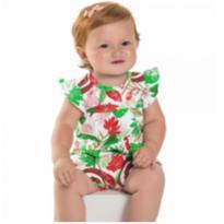 Body Bebe Menina Macaquinho Infantil 100% Algodão Floral TAM M/G - 3 meses - Não informada