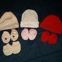 conjuntos de touca e sapatinho - 0 a 3 meses - varios