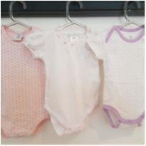 Body Baby Cottons - Branco e Rosa - Recém Nascido - Baby Cottons