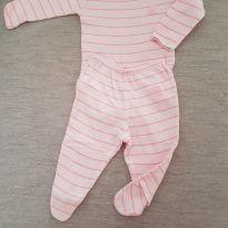 Conjunto Body e Calça Listrado Pink - 0 a 3 meses - Pulla Bulla