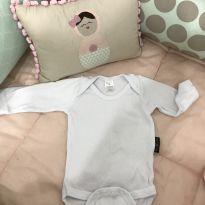 Body branco liso manga longa - 0 a 3 meses - BB Básico