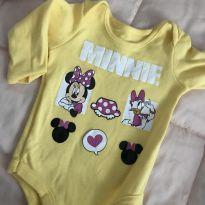 Body Minnie amarelo manga comprida - 0 a 3 meses - Disney