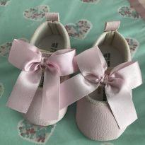 Sapatilha rosa com velcro, laço rosa - 16 - Babyboom
