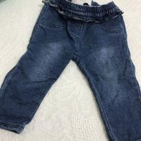 Calca jeans com babado na cintura - 3 a 6 meses - Baby Club Original