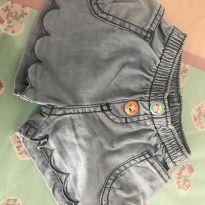 Short jeans botões detalhes - 6 a 9 meses - Alphabeto