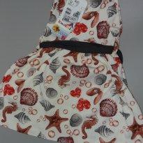 Vestido Estrela do Mar e Cavalo Marinho Tam 1 - 1 ano - Kaiane