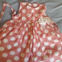 Vestido bolinha salmao tam 3 - 3 anos - Não informada