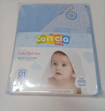 Toalha de Banho c/ Capuz Forro Fralda-Bebê-Azul - Sem faixa etaria - Caricia