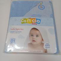 Toalha de Banho c/ Capuz Forro Fralda-Bebê-Azul -  - Caricia