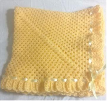 Manta de lã - amarela - Sem faixa etaria - Artesanal